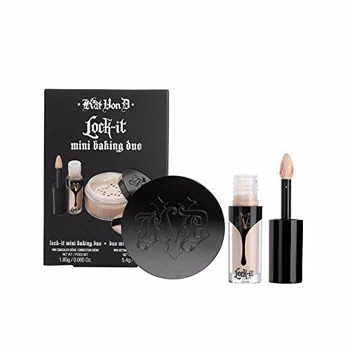 Kat Von D Lock-It Mini Baking Duo: Light 9 - light parchment with neutral undertone, Lock-It Concealer Crème & Setting Powder