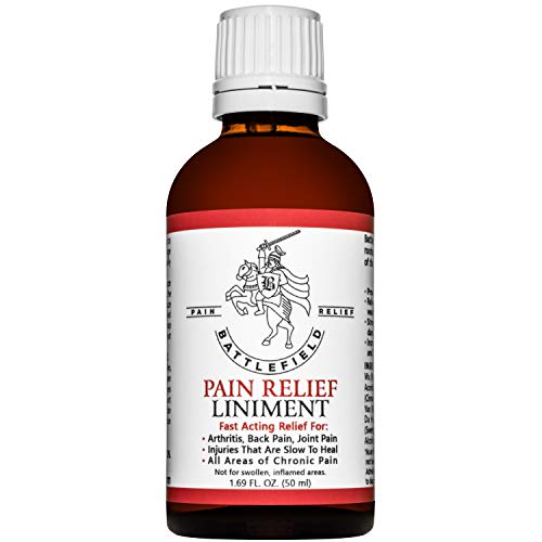 Battlefield Pain Relief Liniment for Arthritis, Back Pain, Tendonitis, Sore Muscles, Joint & Chronic Pain, Sciatica, Plantar Fasciitis, Carpal Tunnel, Golfer's Elbow, Tennis Elbow, Knee Pain - 1.69 oz