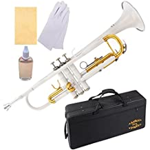 Glory Brass Bb Trumpet with Pro Case +Care Kit, White, More COLORS Available ! CLICK on LISTING to SEE All Colors