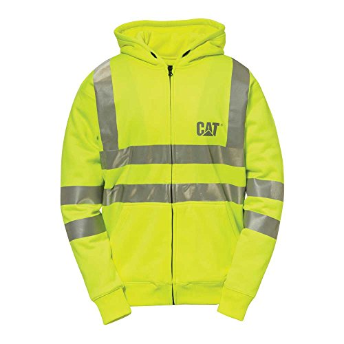 Caterpillar Hi-Vis Full Zip Lined Sweatshirt, Hi-Vis Yellow, Large