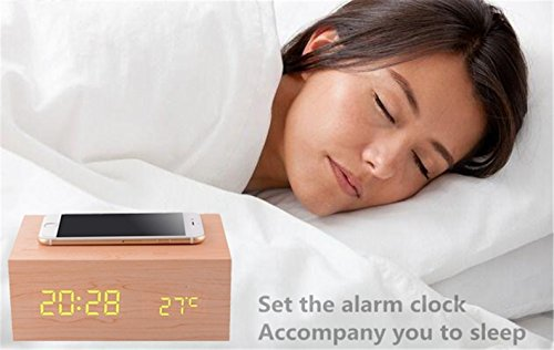 Multi-function Bluetooth Wireless Stereo Speaker & Wood Alarm Clock / LED Time + Day Display for iPhone Samsung Smartphone Laptop and Other Digital Devices. (YELLOW)