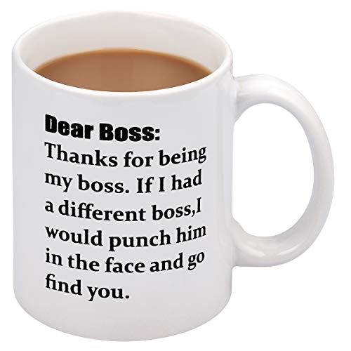 Coffee Mug Dear Boss Coffee Tea Cup Funny Words Novelty Gift Present White Ceramic Mug for Christmas Thanksgiving Festival Gift Present Friends (Best Christmas Present For Your Boss)