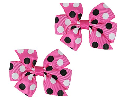 Hip Girl Boutique Grosgrain Ribbon Hair Bow Alligator Clips (2pc Polka Dot(Hot Pink/Black & White))