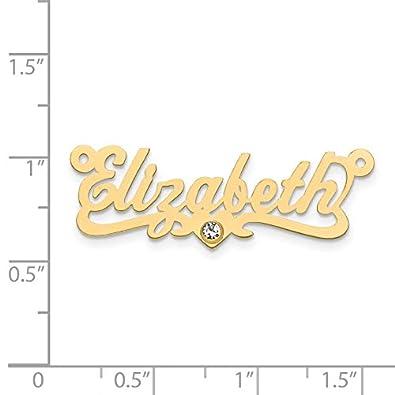 Brilliant Bijou Birthstone Nameplate Laser Polished Medium Size