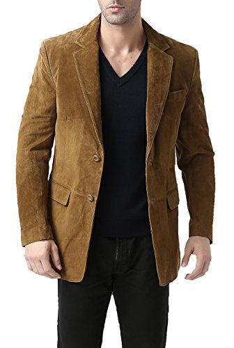 Suede Two Pocket Coat - BGSD Men's Cliff Classic Two-Button Suede Leather Blazer - Tobacco XXL