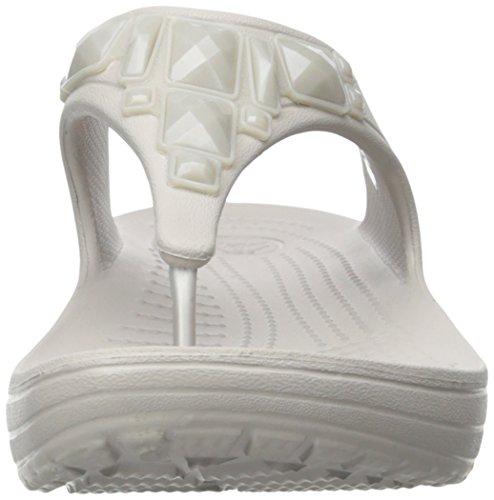 Crocs Sloane Crystal Flip W - Sandalias de plataforma y cuña Mujer Platinum