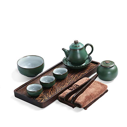 Black Pottery Tea Set Kung Fu Three-Person Mini Black And Ebony Tea Tray Set (Green pottery tea set - chicken wing tea tray)