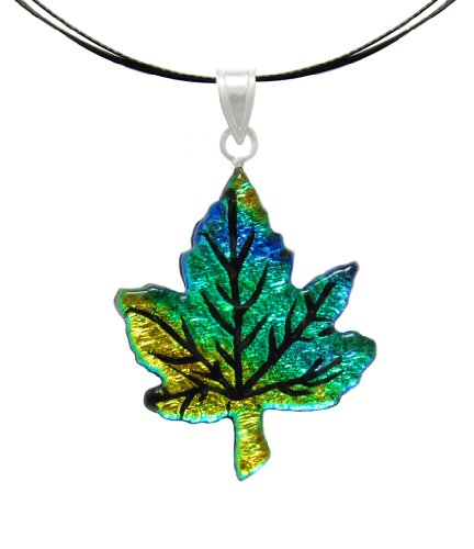 (Sterling Silver Dichroic Glass Yellow-Green Maple Leaf on Stainless Steel Wire Pendant Necklace- 18
