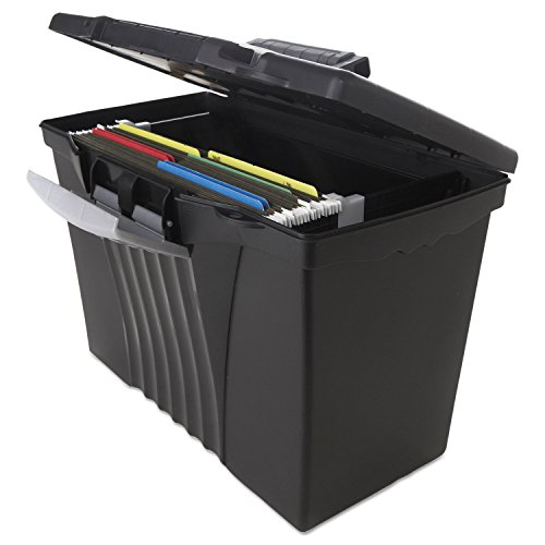 Storex Portable File Box with Organizer Lid, 17.13 x 9.63 x 11 Inches, Letter/Legal, Black (61510U01C) (Lamps For Sale Bankers)