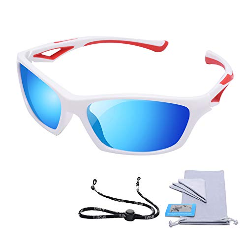 AODUOKE Sports Polarized Sunglasses For Kids Children Boys Girls Toddler With Adjustable Strap (White/Red | blue ()