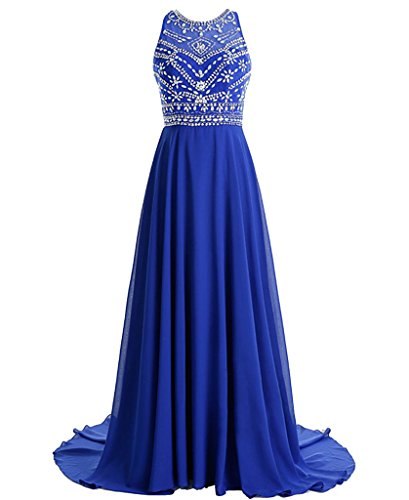 MerryJuly Women's Scoop Neckline Beaded Long Chiffon Prom Dresses for 2018 Royal Blue Size 2