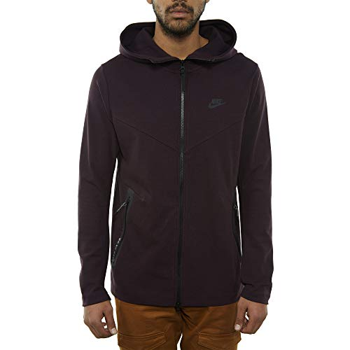 Nike Mens Tech Fleece Pack Full Zip Training Hoodie Burgundy Ash/Black AA3784-659 Size Small by Nike (Image #1)