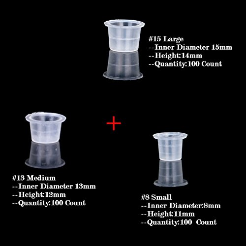 AKOAK 300 Pcs Disposable Plastic Tattoo Ink Caps Cups for Tattoo Ink Tattoo Supplies?Mixed Sizes #15 Large #13 Medium #8 Small?