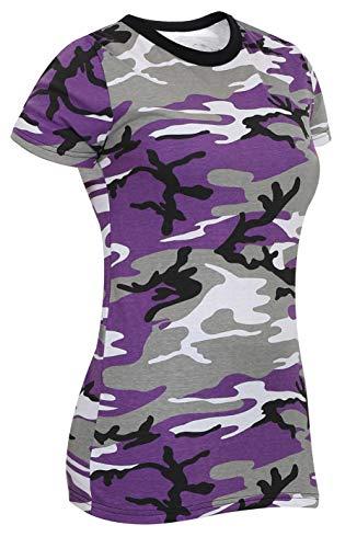 Rothco Womens Long Length Camo T-Shirt, Ultra Violet Camo, S
