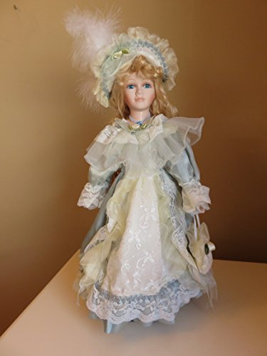 Beautiful Porcelain (Porcelain Doll with Lace Dress 16 in. Blonde Hair Blue Eyes)