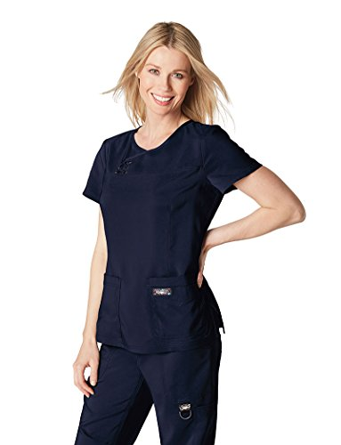 - KOI Tech Women's Serena Crossover Y-Neck Solid Scrub Top Large Navy