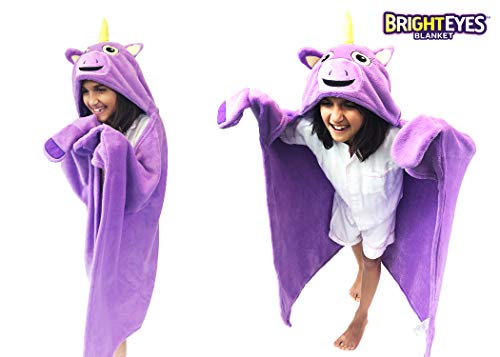 Bright Eyes Blanket - Super Soft Snuggie for Kids - Hooded, Blanket, Robe - Comfy Throw Blanket, Purple Unicorn; Warm Fuzzy Blanket, stuffed animal blanket - Machine Washable - Perfect for Sleepovers!