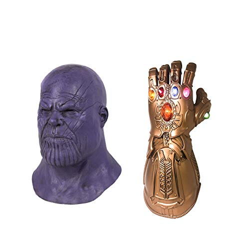 Thanos Mask Headwear with Gauntlet Set Adult Avengers Halloween Cosplay Costume Latex Prop ()