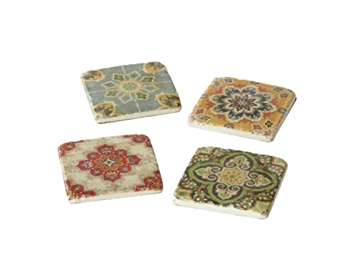 Set of 24 Red, Blue, Yellow, and Green Medallion Patterned Resin Coasters 4'' by Midwest Gloves