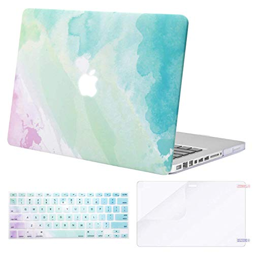 MOSISO Plastic Pattern Hard Case & Keyboard Cover & Screen Protector Only Compatible Old MacBook Pro 13 Inch (A1278 CD-ROM) Release Early 2012/2011/2010/2009/2008, Rainbow Mist
