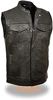 Hzcx Fashion Mens Shiny Black and Silver Faux Down Vest Cotton-Padded Waistcoat