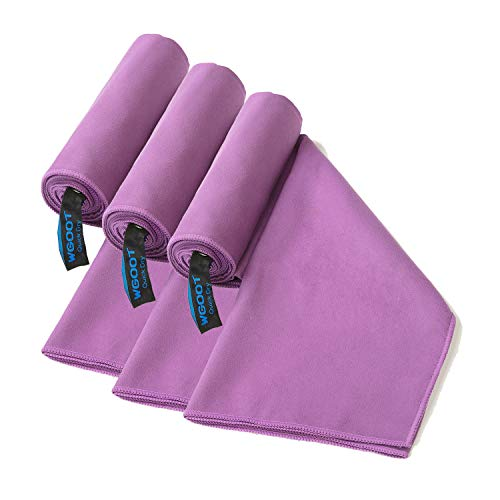 (WGOOT Quick Dry Microfiber Travel Towel,Super Absorbent,Lightweight &Ultra Compact .Suitable for Swimming,Yoga,Camping,Beach,Gym,Sport Purple 3pack)