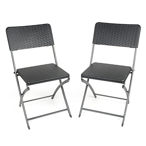 2 x Blow Moulded Folding Chairs Rattan Effect Heavy-Duty Camping Festival Garden