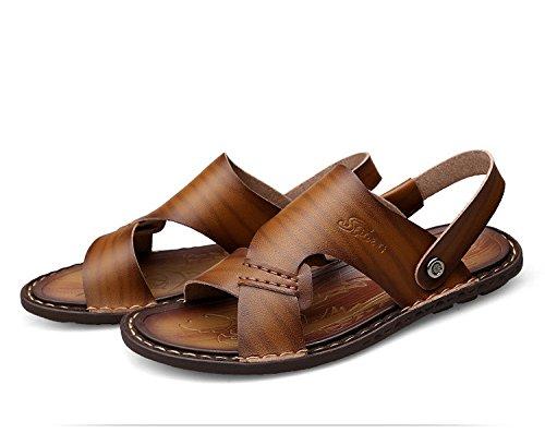 Nuovi sandali di estate dei sandali della fibra degli uomini che trasportano i pantaloni antisdrucciolevoli respirabili dei pantaloni degli uomini doppio uso, cachi, UK = 6, EU = 39