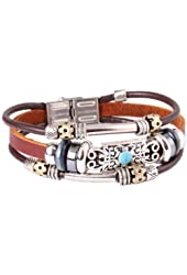 Fashion Plaza Tibetan Hand Crafted Blue Coral Stone Leather Bracelet -19cm- L15