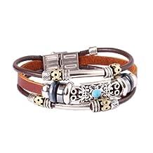 FASHION PLAZA Tibetan Hand Crafted Blue Coral Stone Leather Bracelet -19cm- LB15