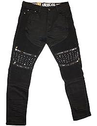 Mens Spike Rhinestone Moto Denim Jeans Vintage Americana