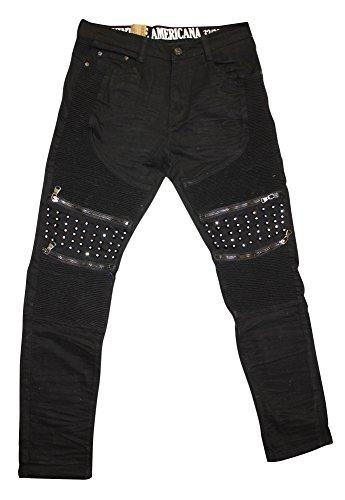 (Vintage Americana Men's Spike Rhinestone Moto Denim Jeans, Black, 38)