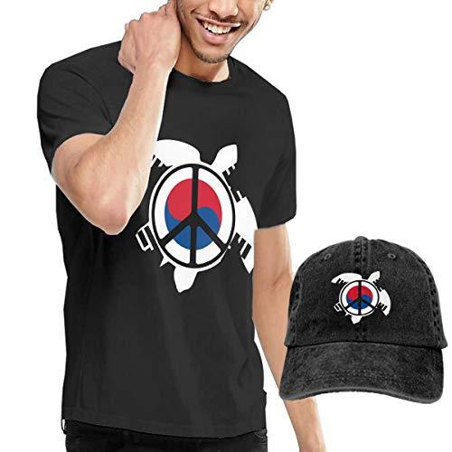 Adult Korea Flag Sea Turtle Peace Sign Short Sleeve Tee and Hat Costume Set Black