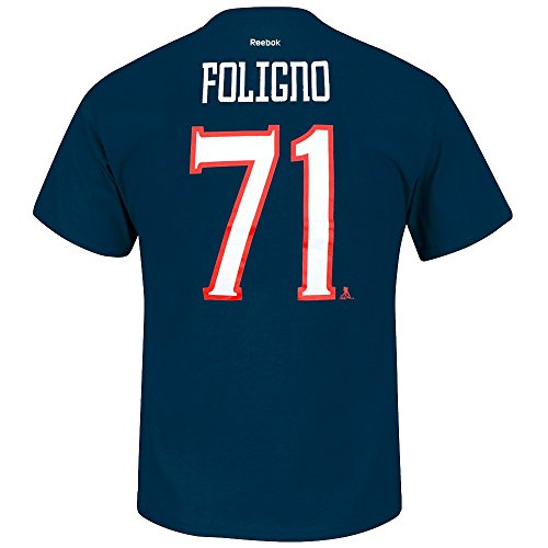 Nick Foligno Columbus Blue Jackets NHL Reebok Men Navy Blue Player Name & Number Jersey T-Shirt (2XL) ()