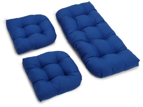 Blazing Needles Twill Settee Group Cushions, Royal Blue, Set of 3 (Patio Furniture Pads)