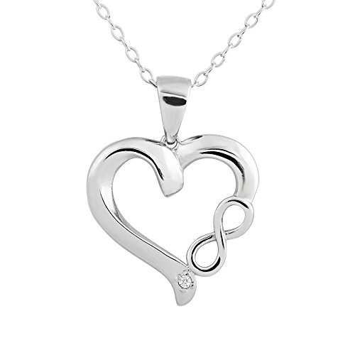 Sterling Silver Rhodium Plated Diamond Accent Infinity Heart Pendant Necklace, 18""