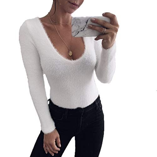 - Womens Long Sleeve Bodysuits Solid White Warm Plush Neck Deep-V Bodycon Romper Jumpsuits Sweater Shirt Top (Small)