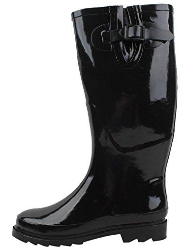 Fashion Rain Brand Bottes pluie Boots Women's Rubber Black de New qpTEwIEf