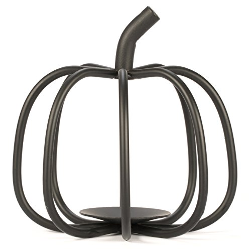 The Relaxed Gardener Pumpkin Candle Holder - Black Wrought Iron for Tea Light and Votive Flameless Candles - Ideal for Fall, Halloween and Thanksgiving Decorating