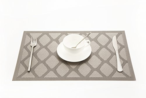 Vitos Casa Dining Placemats By Heat-resistant Anti-skid Washable PVC Kitchen Table Mats (Silver Diamond, Set of 4)
