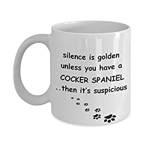 Cocker Spaniel Mug: Silence is Golden American English Dog Coffee Cup 2