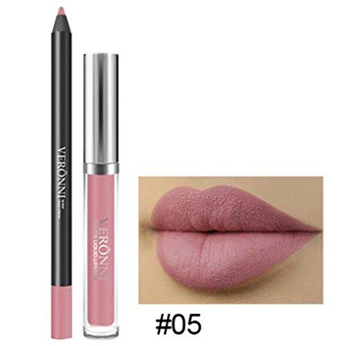 Long Lasting Lipstick Waterproof Matte Liquid Gloss Lip Liner Cosmetics Set -