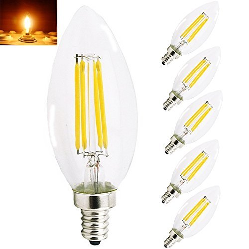 Energizer 4w 40w Filament Led Candle Ses: Bonlux 5-Pack 4W E14 SES LED Dimmable Filament Bulbs Warm