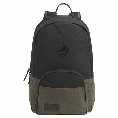 BENRUS Sentry Backpack in Black and Olive Waxed Canvas by Benrus