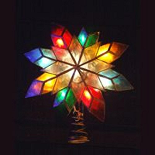 (Kurt Adler 10-Light Multi-Color Capiz Star Tree Topper)