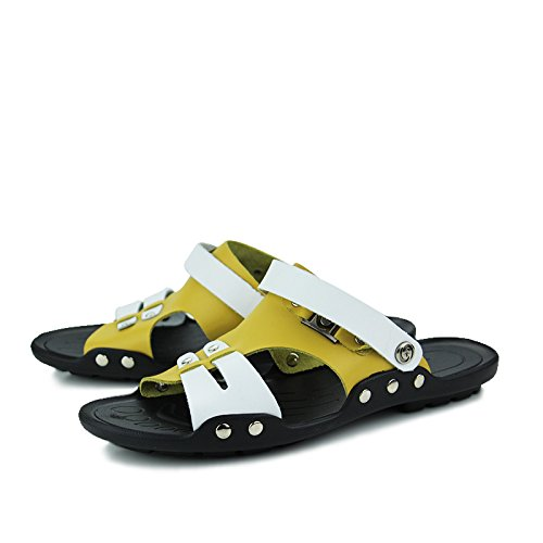 CFP Leather Sandals With Mens Fashion Breathable Casual 7 Yellow Athletic 886 Size Beach UK Comfy Clogs Soft nW7Br4gxn