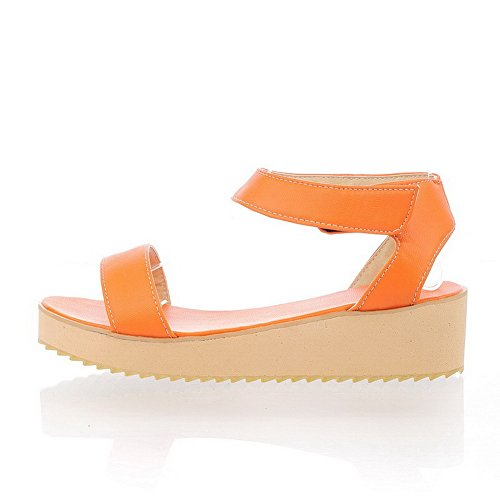 AllhqFashion Mujeres Sólido Velcro Puntera Abierta Sandalia de Cuña Naranja