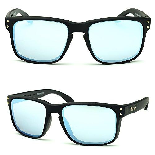 B.N.U.S Shades for men and women fashion silver mirrored lenses Polarized (Frame: Matte Black, Polarized Sliver - Sunglasses Men S Cheap
