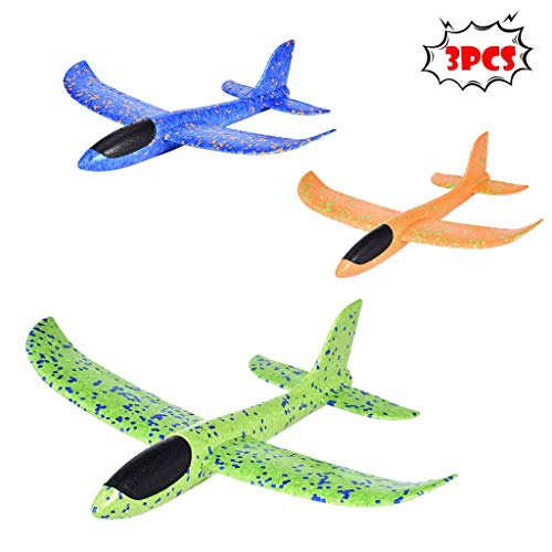 ErYao Shipped from USA, Glider Airplanes 3pcs 13.5inch Airplane Gliders, Manual Throwing, Fun, Challenging, Outdoor Sports Toy, Lightweight Model EPP Foam Airplane, Plane Toys (Blue, Green, Orange)