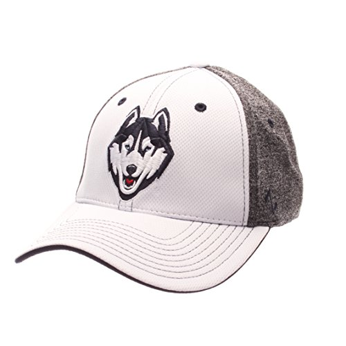 Zephyr NCAA Connecticut Huskies Adult Men Equinox Hat, Medium/Large, White/Heather (Huskies One Fit Cap)